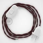 Napájecí kabel pro stolní lampu, TM19 Bordový hedvábní 1,80 m. Vyberte si barvu zástrčky a vypínače.