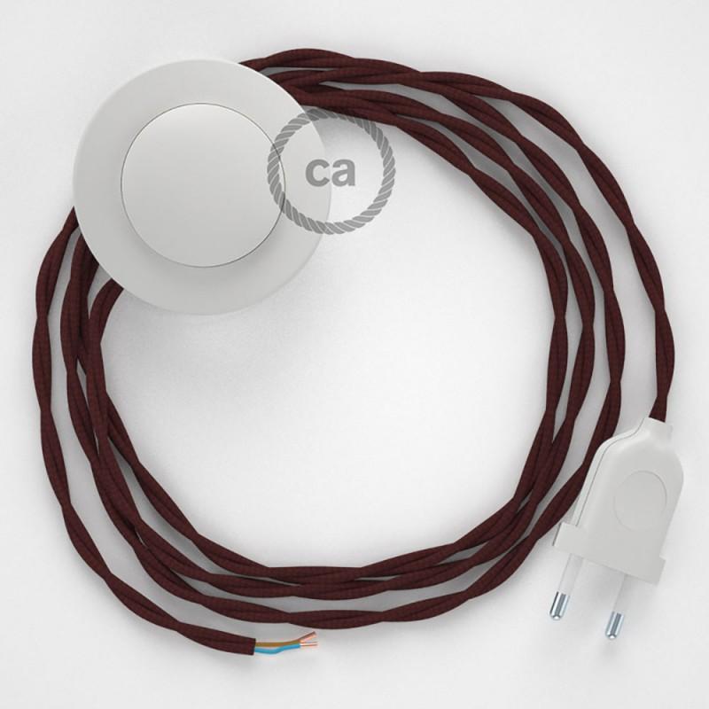 Napajecí kabel pro stojící lampu, TM19 bordový hedvábný 3 m. Vyberte si barvu vypínače a zástrčky.