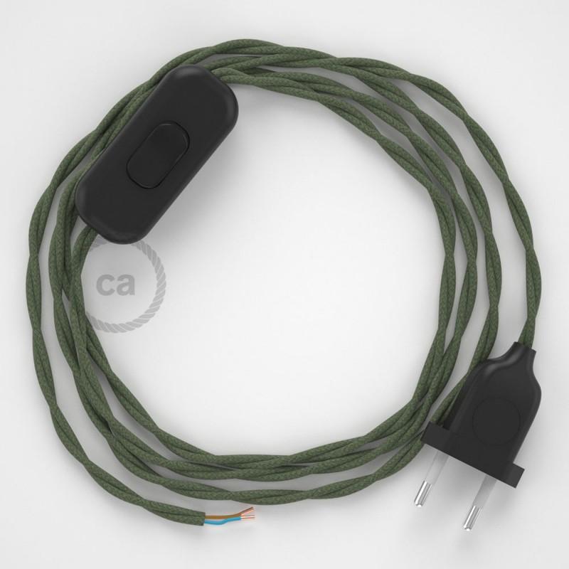 Napájecí kabel pro stolní lampu, TC63 Zeleně - šedý bavlněný 1,80 m. Vyberte si barvu zástrčky a vypínače.