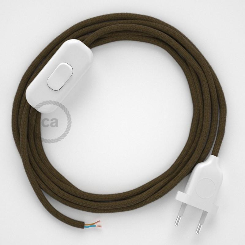 Napájecí kabel pro stolní lampu, RC13 Hnědý bavlněný 1,80 m. Vyberte si barvu zástrčky a vypínače.