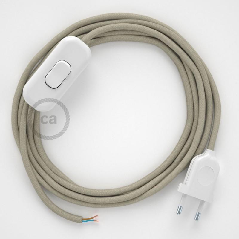 Napájecí kabel pro stolní lampu, RC43 Sivý bavlněný 1,80 m. Vyberte si barvu zástrčky a vypínače.