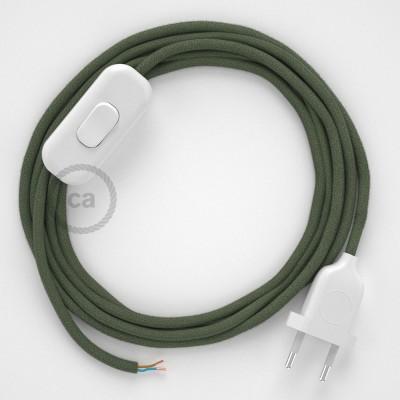 Napájecí kabel pro stolní lampu, RC63 Zeleně - šedý bavlněný 1,80 m. Vyberte si barvu zástrčky a vypínače.