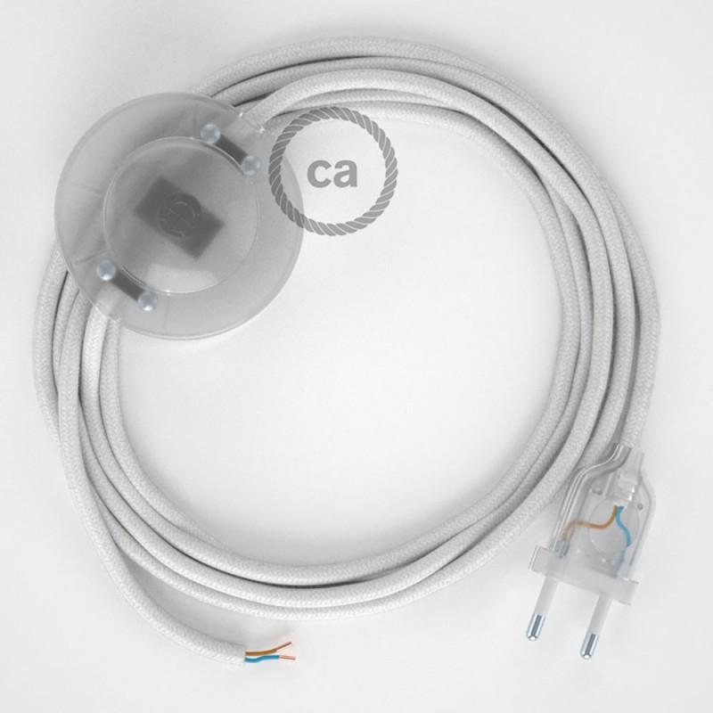 Napajecí kabel pro stojící lampu, RC01 bílý bavlněný 3 m. Vyberte si barvu vypínače a zástrčky.