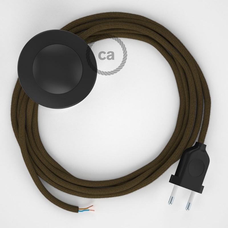 Napajecí kabel pro stojící lampu, RC13 hnědý bavlněný 3 m. Vyberte si barvu vypínače a zástrčky.