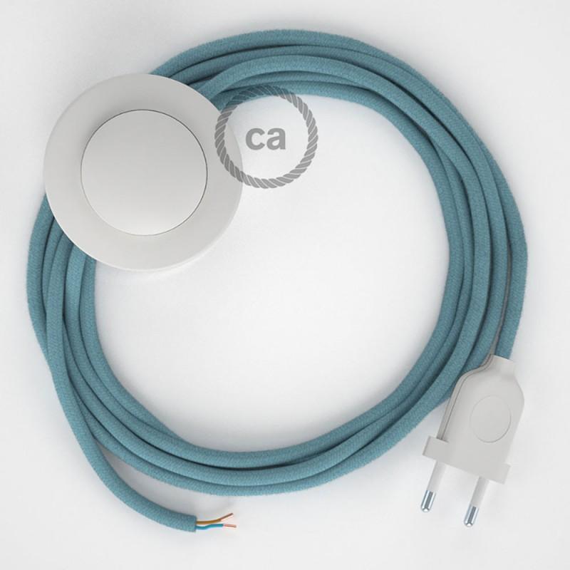 Napajecí kabel pro stojící lampu, RC53 oceánově modrý bavlněný 3 m. Vyberte si barvu vypínače a zástrčky.