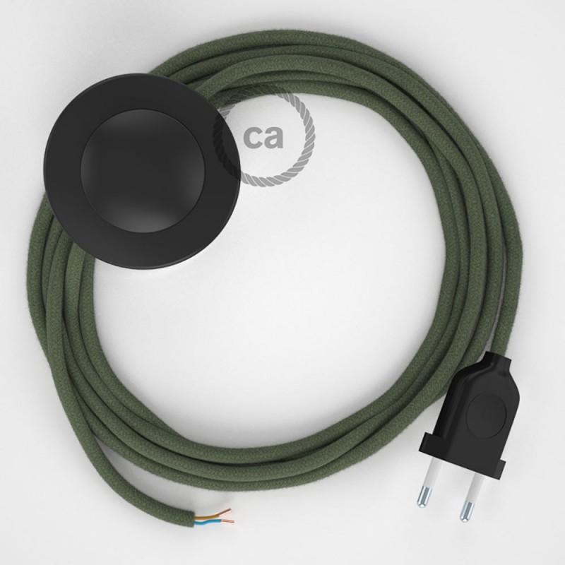 Napajecí kabel pro stojící lampu, RC63 zeleně - šedý bavlněný 3 m. Vyberte si barvu vypínače a zástrčky.