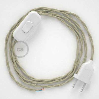 Napájecí kabel pro stolní lampu, TC43 Sivý bavlněný 1,80 m. Vyberte si barvu zástrčky a vypínače.