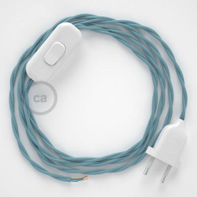 Napájecí kabel pro stolní lampu, TC53 Oceánově modrý bavlněný 1,80 m. Vyberte si barvu zástrčky a vypínače.