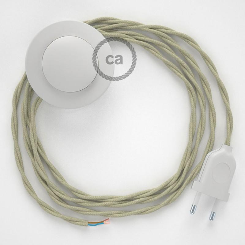 Napajecí kabel pro stojící lampu, TC43 sivý bavlněný 3 m. Vyberte si barvu vypínače a zástrčky.