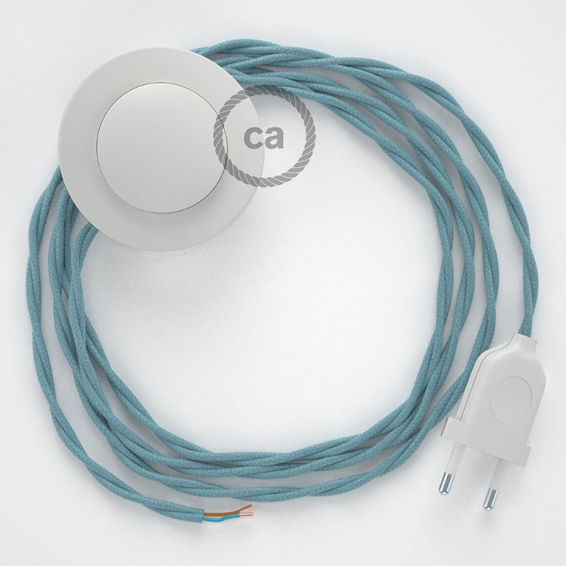 Napajecí kabel pro stojící lampu, TC53 oceánově modrý bavlněný 3 m. Vyberte si barvu vypínače a zástrčky.