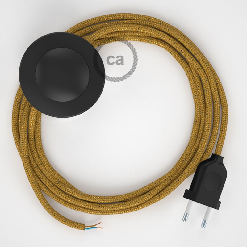 Napajecí kabel pro stojící lampu, RL05 třpytivý zlatý hedvábný 3 m. Vyberte si barvu vypínače a zástrčky.