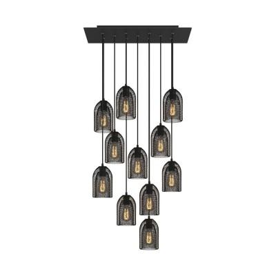 Závěsná lampa s 11 světly, s obdélníkovým XXL baldachýnem Rose-One, textilním kabelem a kovovými stínidly Ghostbell