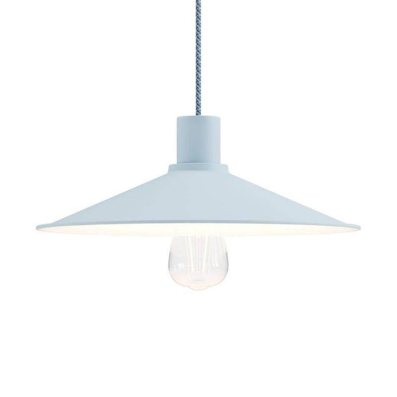Závěsná lampa s textilním kabelem a pastelovým stínidlem Swing. Vyrobeno v Itálii.