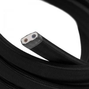 Textilní elektrický kabel pro světelný řetěz, pokrytý textílií z umělého hedvábí - Černý CM04