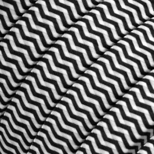Textilní elektrický kabel pro světelný řetěz, pokrytý textílií z umělého hedvábí - Bíle-černý cik cak CZ04