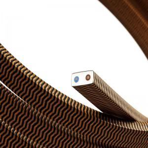 Textilní elektrický kabel pro světelný řetěz, pokrytý textílií z umělého hedvábí - cik-cak černý-whisky CZ22