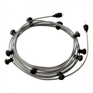 Hotový světelný řetěz Lumet 12,5 m je sestavený z 10 černých objímek, háčku a zástrčky