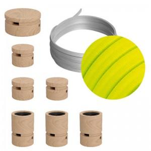 Filé System - sestava pro přímou instalaci - 5m kabelu pro světelné šňúry a 7 dřevěných komponentů
