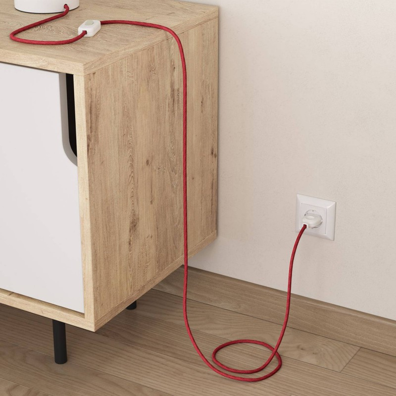 Kulatý textilní elektrický kabel opletený jutou RN24 třešňově červený