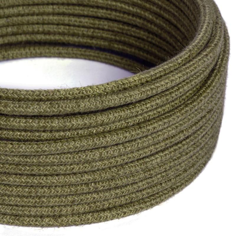 Kulatý textilní elektrický kabel opletený jutou RN26 tmavě hnědý