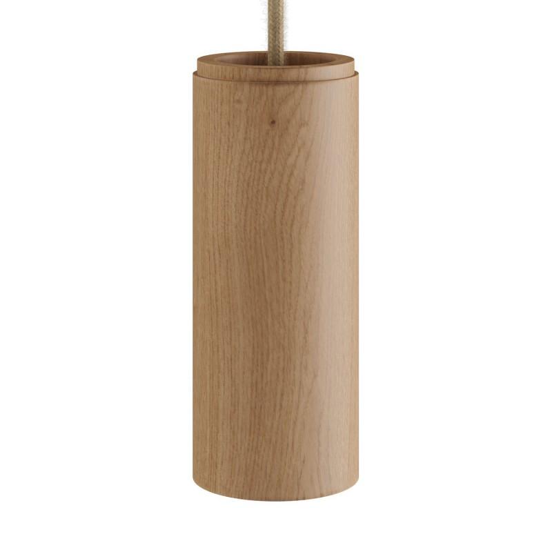 Tub-E14, dřevěné válcové bodové stínidlo s E14 objímkou s koužky