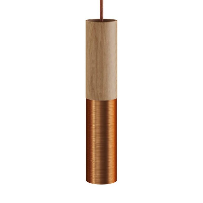 Tub-E14, dřevěné a kovové válcové bodové stínidlo s E14 objímkou s koužky